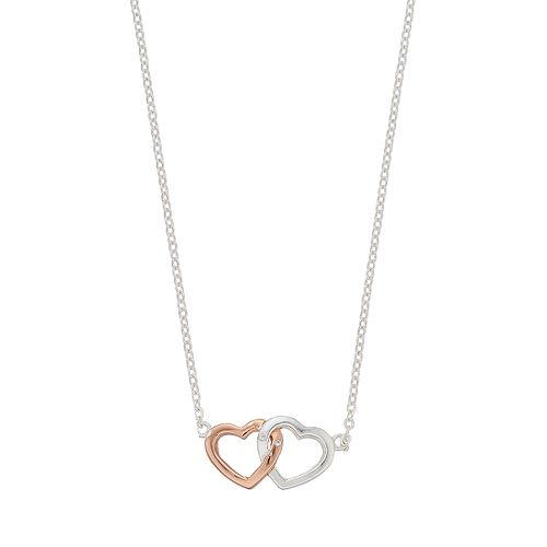 love this lifeTwo Tone Double Heart Necklace