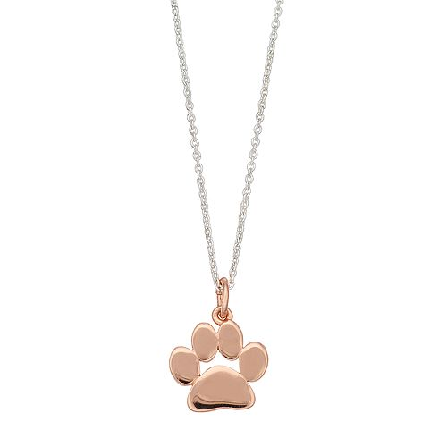 love this life Two Tone Paw Print Pendant Necklace