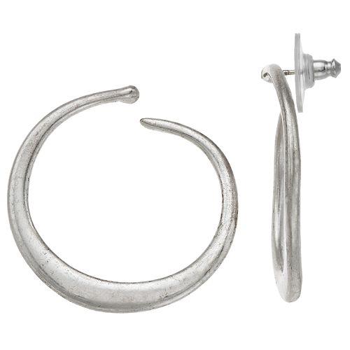 Bella Uno Silver Tone Post Back Open Hoop Earrings