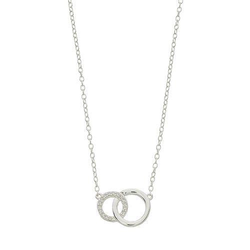 love this life Sterling Silver Cubic Zirconia Double Circle Necklace