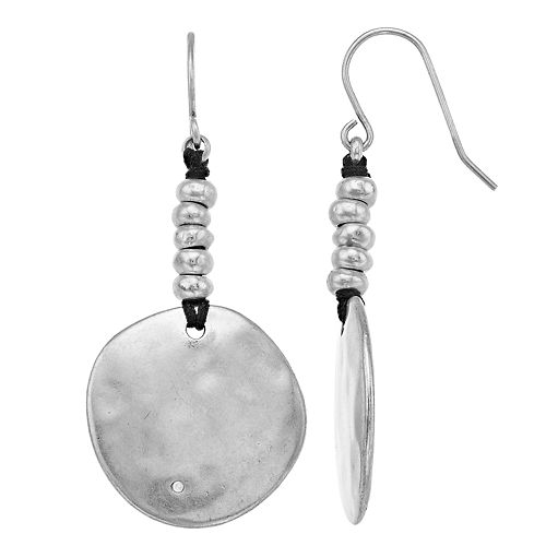 Bella Uno Silver Tone Hammered Disc and Bead Drop Earrings