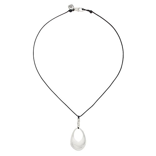Bella Uno Silver Tone Teardrop Cord Necklace