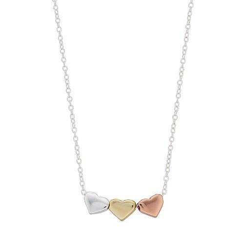 love this lifeTri Tone Triple Heart Necklace