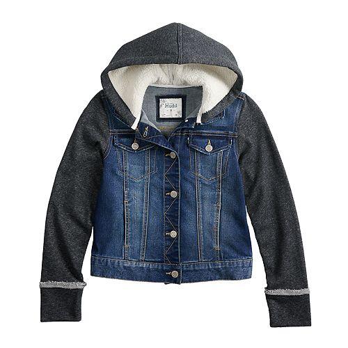 Girls 7-16 Mudd® Sherpa-Lined Knit Sleeve Denim Jacket
