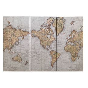 Madison Park World Map Canvas Wall Art 3-piece Set