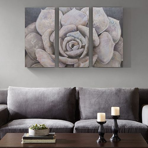 Madison Park Pearlescent Succulent Canvas Wall Art 3 Piece Set