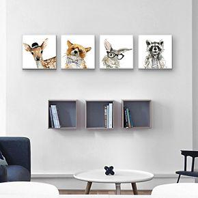 Fox, Deer, Rabbit & Raccoon Canvas Wall Art 4-piece Set