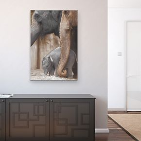 "Family Moment Elephant 36"" x 24"" Canvas Wall Art"