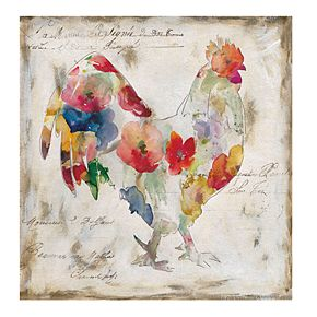 Flowered Rooster Colorful Canvas Wall Art