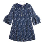 Girls 7-16 Knitworks Lace Lantern Sleeve Shift Dress with Necklace