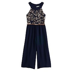Girls 7-16 Knitworks Belted Sequin Bodice Jumpsuit with Hair Bow
