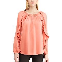 Women's Chaps Ruffle Satin Peasant Top