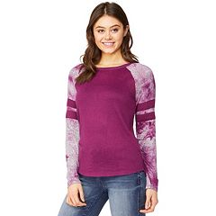 Juniors' WallFlower Tie-Dye Raglan Sleeve Top