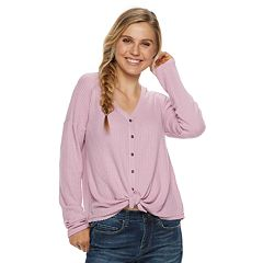 Juniors' Mudd® Waffle-Knit Button Front Long Sleeve Top