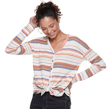 Waffle-Knit Button Front Long Sleeve Top