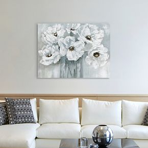 White Poppy Bouquet Canvas Wall Art