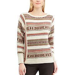 Women's Chaps Striped Linen-Blend Crewneck Sweater