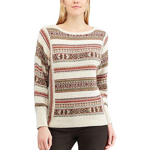 Women's Chaps Striped Linen-Blend Crewneck Sweater