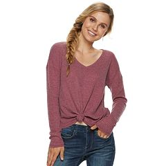 Juniors' Mudd® Tie-Front Waffle-Knit Long Sleeve Top