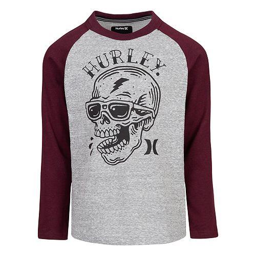 Boys 4-7 Hurley Pirate Skull Raglan Graphic Tee