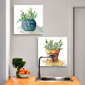 Potted Basil, Bay Leaf, Rosemary & Thyme Herbs Canvas Art 4-piece Set