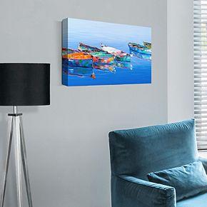 "Five Boats Blue 17"" x 34"" Canvas Wall Art"
