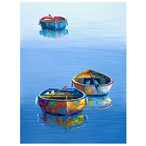 "Three Boats Blue 40"" x 30"" Canvas Wall Art"