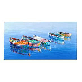 "Five Boats Blue 24"" x 48"" Canvas Wall Art"