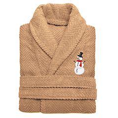 Linum Home Textiles Herringbone Weave Embroidered Snowman Bathrobe