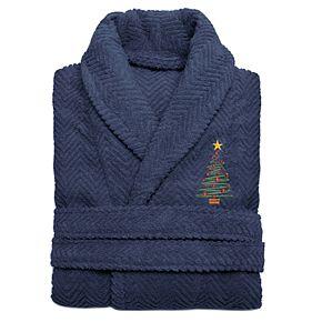Linum Home Textiles Turkish Cotton Herringbone Weave Embroidered Christmas Tree Bathrobe