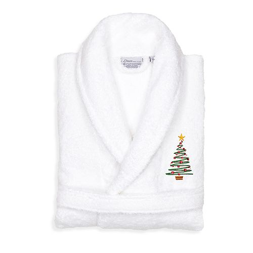 Linum Home Textiles Turkish Cotton Terry Embroidered Christmas Tree Bathrobe