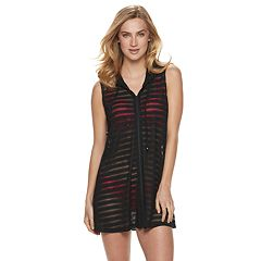 Women's Apt. 9® Shadow Stripe Zip-Front Cover-Up
