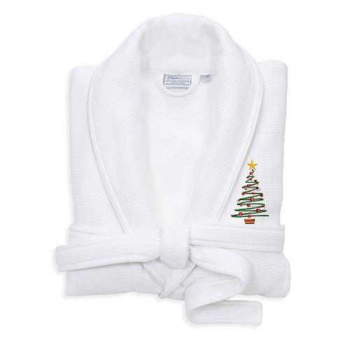 Linum Home Textiles Waffle Terry Embroidered Christmas Tree Bathrobe