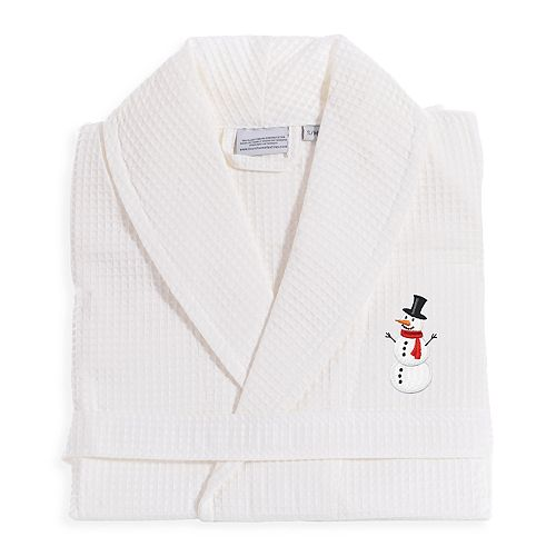 Linum Home Textiles Waffle Weave Embroidered Snowman Bathrobe