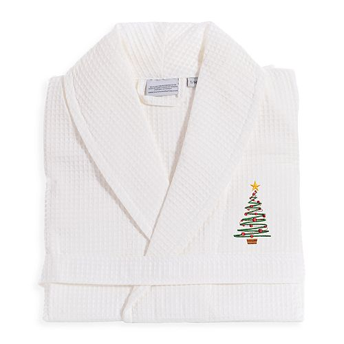Linum Home Textiles Waffle Weave Embroidered Christmas Tree Bathrobe