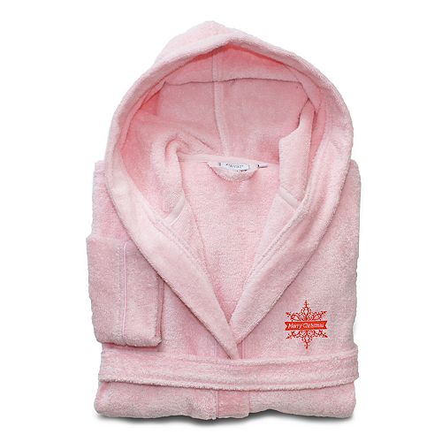 Linum Home Textiles Kids Hooded Terry Embroidered Merry Christmas Bathrobe