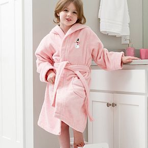 Linum Home Textiles Kids Hooded Terry Embroidered Snowman Bathrobe