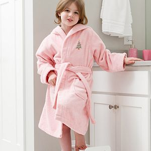 Linum Home Textiles Kids Hooded Terry Embroidered Christmas Tree Bathrobe