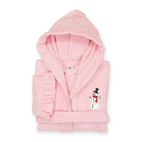 Linum Home Textiles Kids Hooded Terry Embroidered Snowman Ruffled Bathrobe