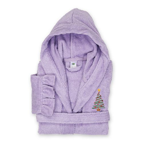 Linum Home Textiles Kids Hooded Terry Embroidered Christmas Tree Ruffled Bathrobe
