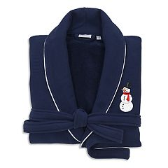Linum Home Textiles Waffle Weave Terry Embroidered Snowman Bathrobe