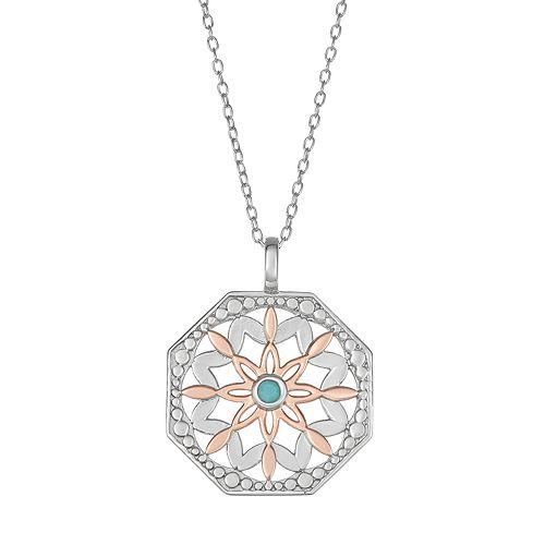 Sisterhood Two-Tone Sterling Silver Open Work Starburst Pendant Necklace