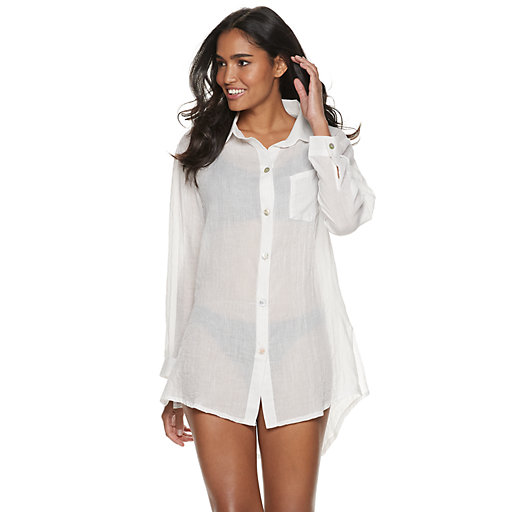 9cefde9676074 Women's Apt. 9® Button-Front Cover-Up Shirt