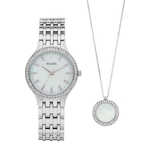Bulova Women's Crystal Watch & Pendant Set - 96X146
