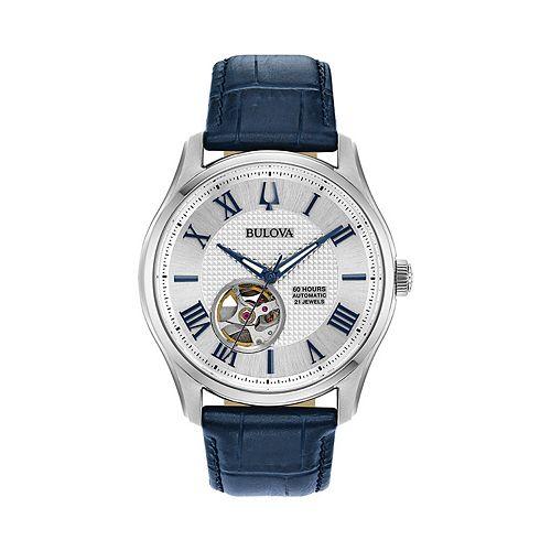 Bulova Men's Wilton Leather Automatic Skeleton Watch - 96A206