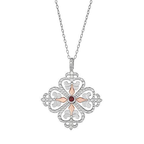Sisterhood Sterling Silver Fleur-De-Lis Heart Pendant Necklace