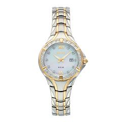 Seiko Women's Solar Diamond Accent Two Tone Watch - SUT372