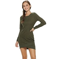Juniors' Almost Famous Crossover-Hem Sweater Dress