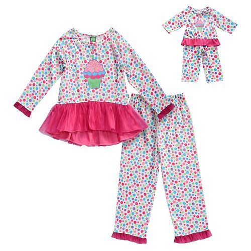 Girls 4-14 Dollie & Me Cupcake & Polka Dots Peplum Top & Bottoms Pajama Set & Doll Pajama Set