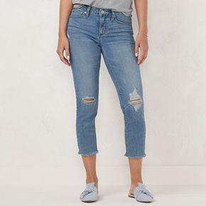 Petite LC Lauren Conrad Feel Good Frayed Capri Jeans